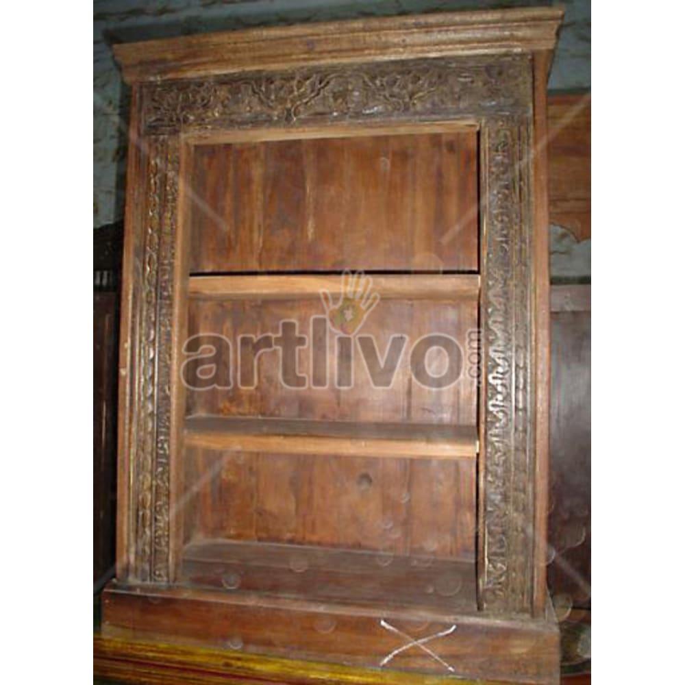 Antique Indian Chiselled Superb Solid Wooden Teak Bookshelf
