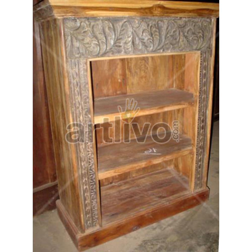 Antique Indian Engraved Plush Solid Wooden Teak Bookshelf