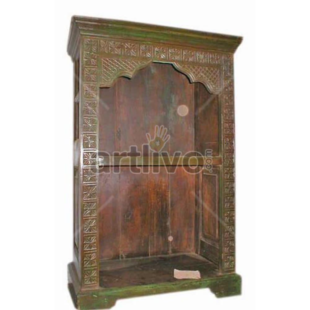 Antique Indian Sculpted Palatial Solid Wooden Teak Bookshelf