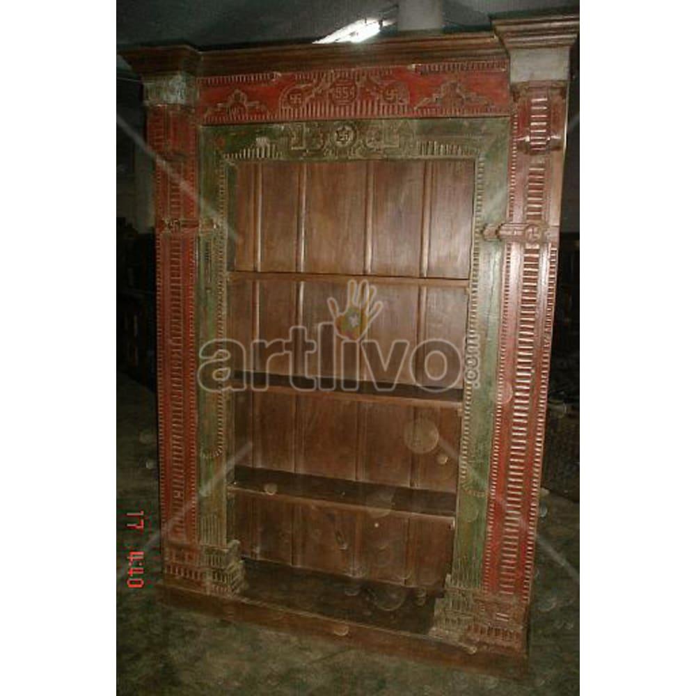 Old Indian Carved Noble Solid Wooden Teak Bookshelf