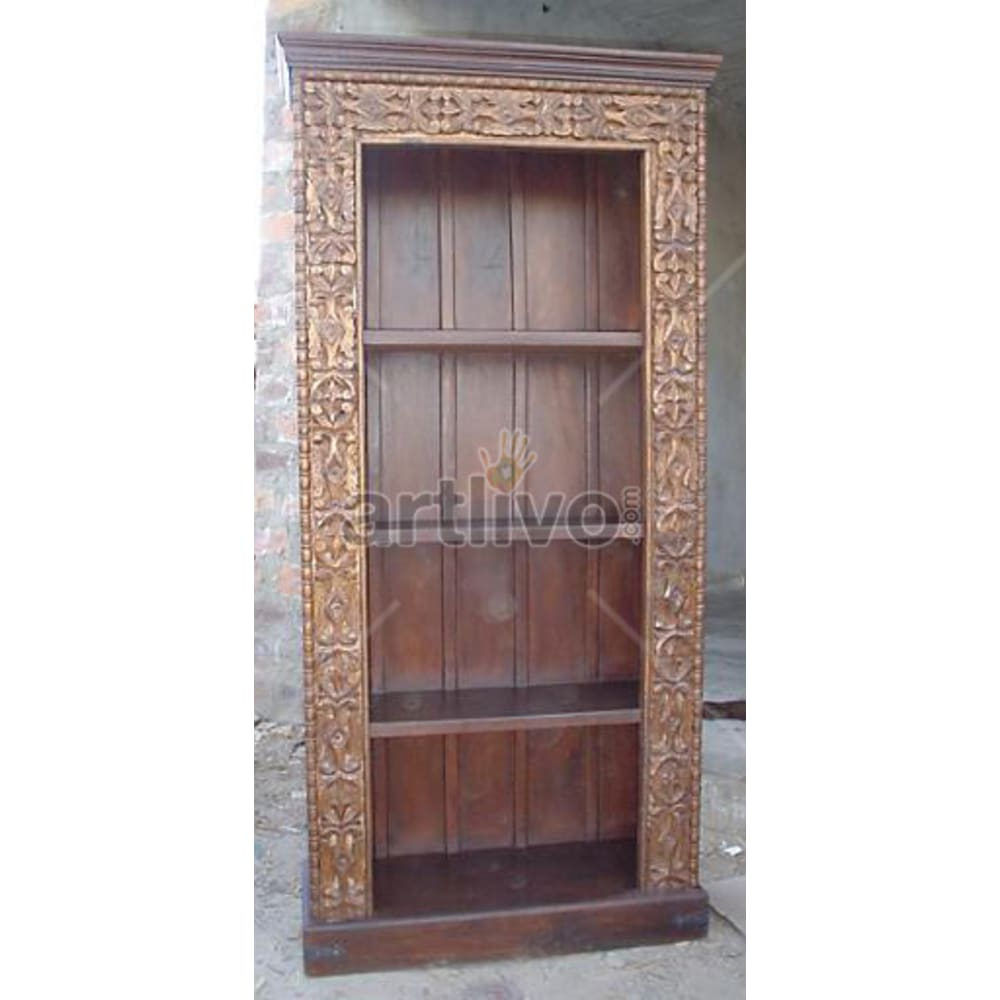 Old Indian Carved Marvellous Solid Wooden Teak Bookshelf