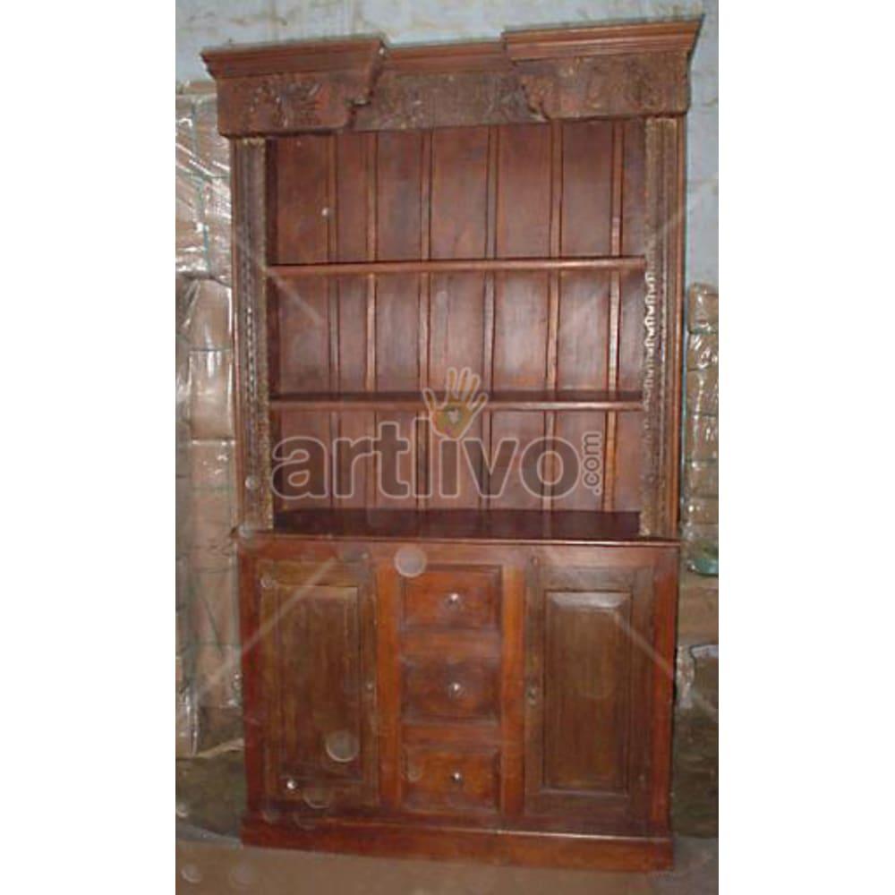 Old Indian Brown Rich Solid Wooden Teak Bookshelf