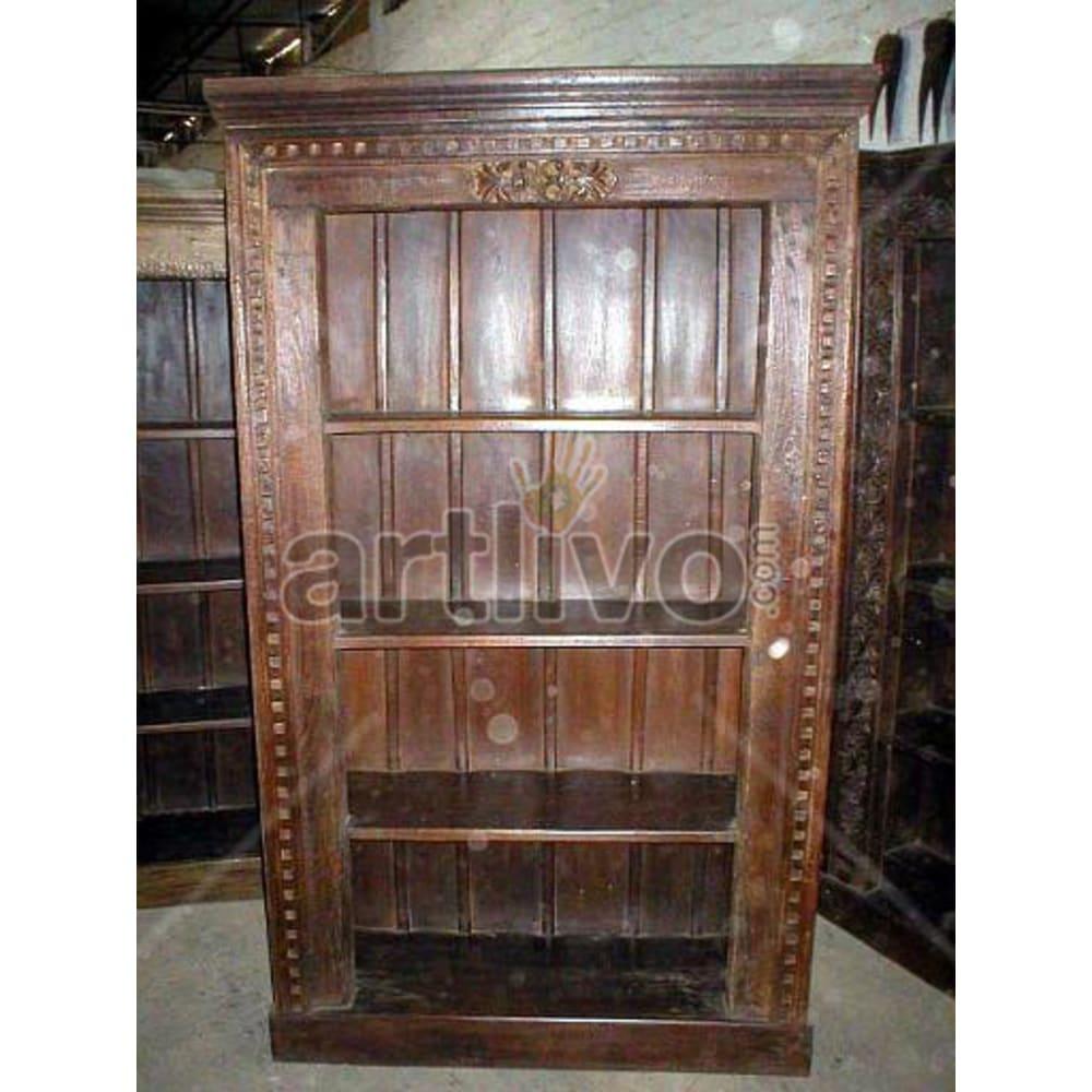 Old Indian Brown Stately Solid Wooden Teak Bookshelf