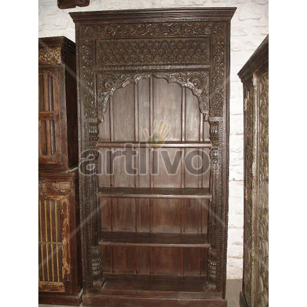 Old Indian Chiselled Palatial Solid Wooden Teak Bookshelf