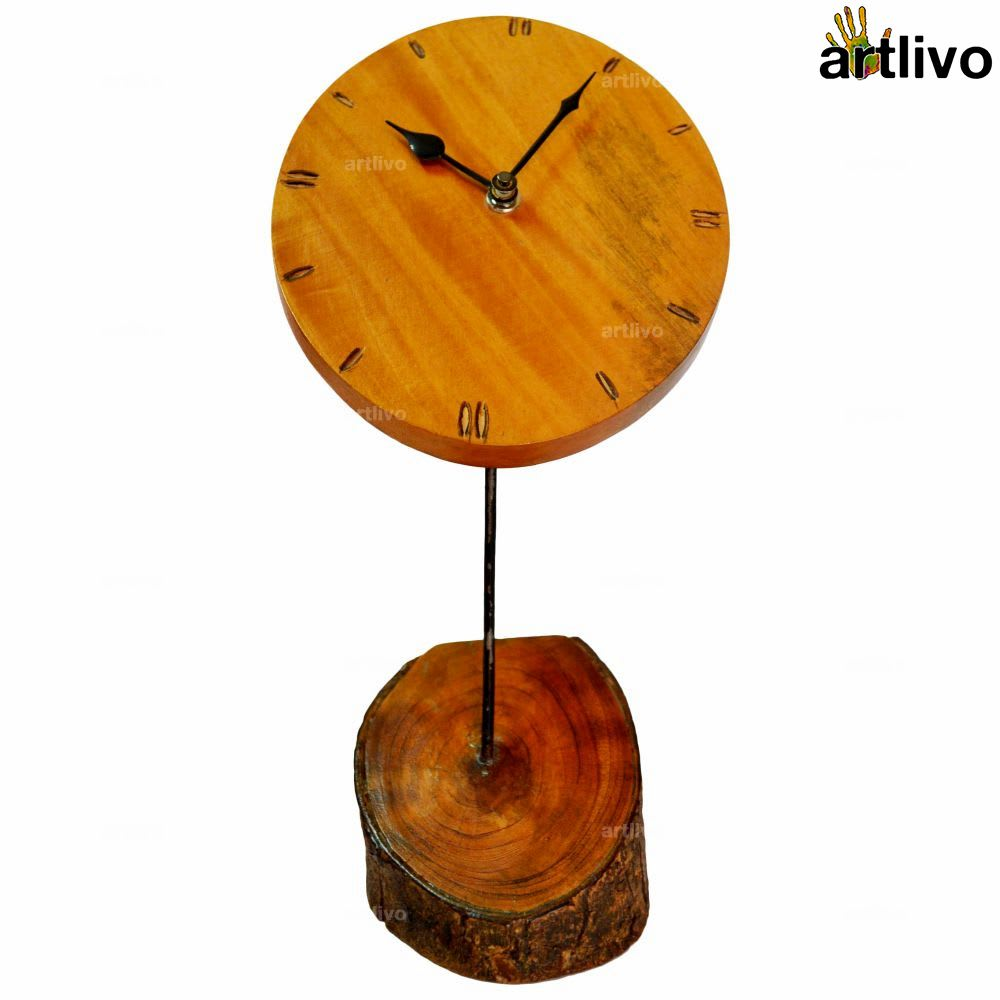 ECOLOG Rustic Raw Wood Table Clock