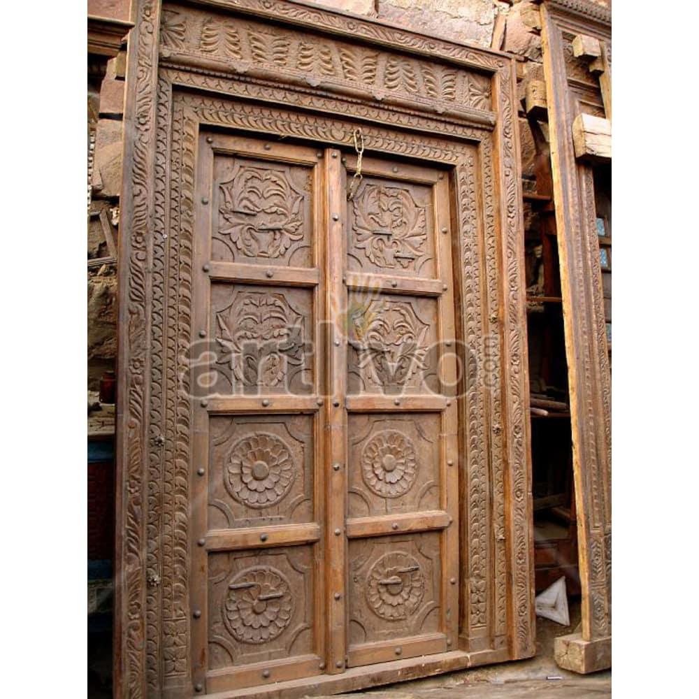 Vintage Indian Carved Aristocratic Solid Wooden Teak Door