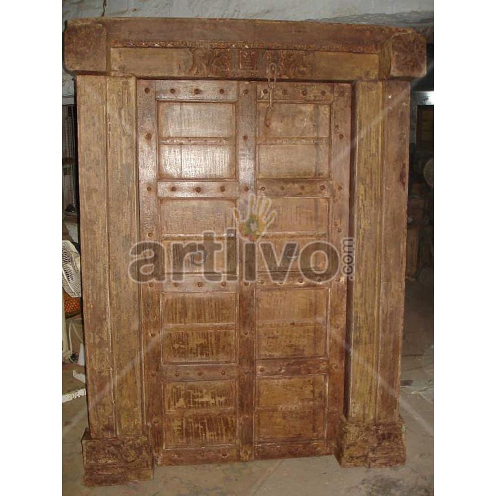 Vintage Indian Brown Supreme Solid Wooden Teak Door