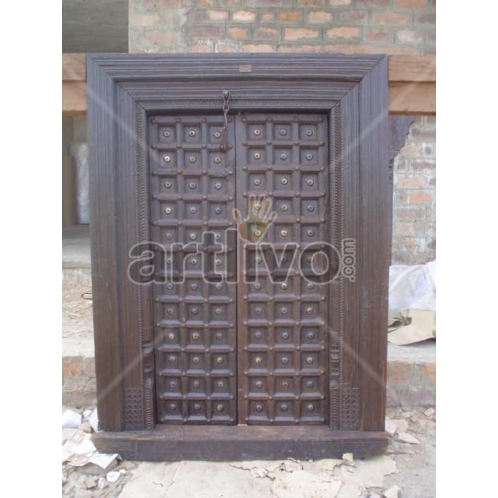 Vintage Indian Chiselled Lavish Solid Wooden Teak Door
