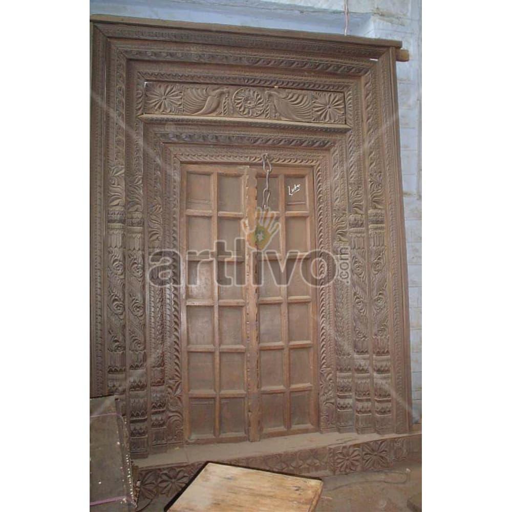 Vintage Indian Chiselled Royal Solid Wooden Teak Door