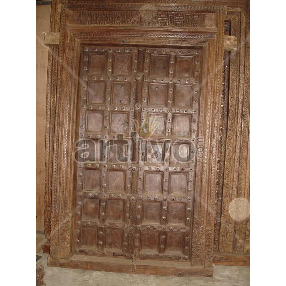 Vintage Indian Chiselled Stately Solid Wooden Teak Door