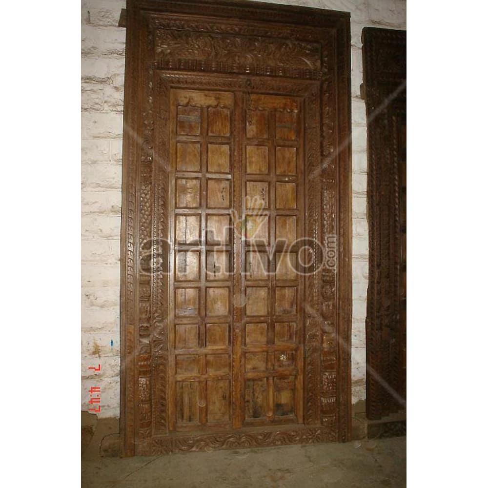 Vintage Indian Sculpted Deluxe Solid Wooden Teak Door