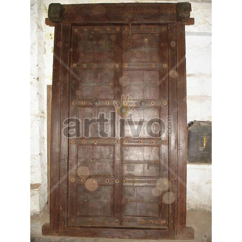 Vintage Indian Sculpted Palatial Solid Wooden Teak Door