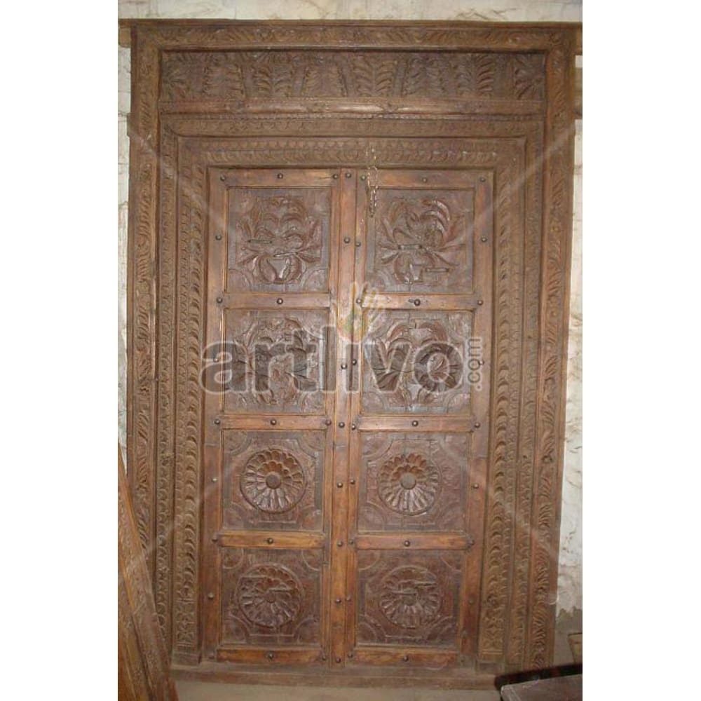 Vintage Indian Sculptured Extravagant Solid Wooden Teak Door