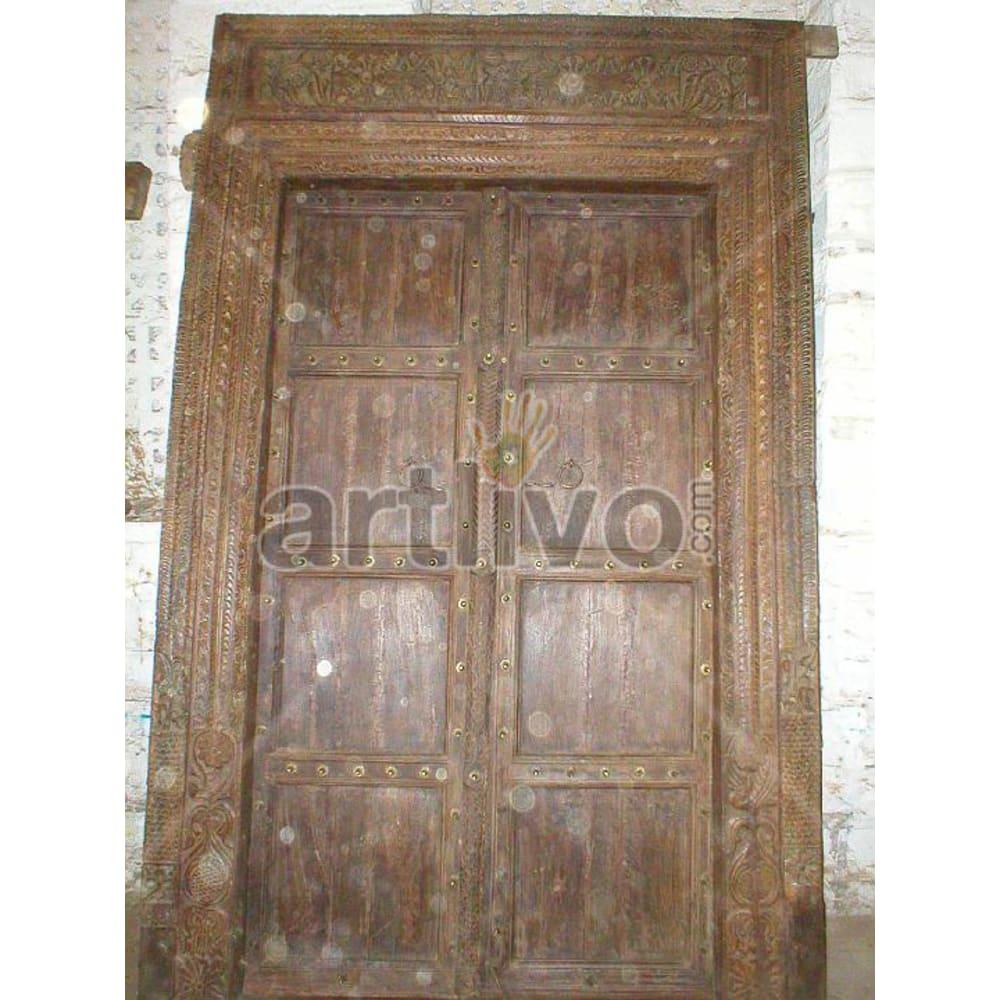Vintage Indian Sculptured Imperial Solid Wooden Teak Door