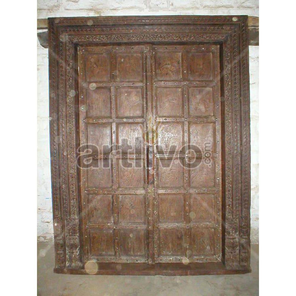 Vintage Indian Beautiful Palatial Solid Wooden Teak Door