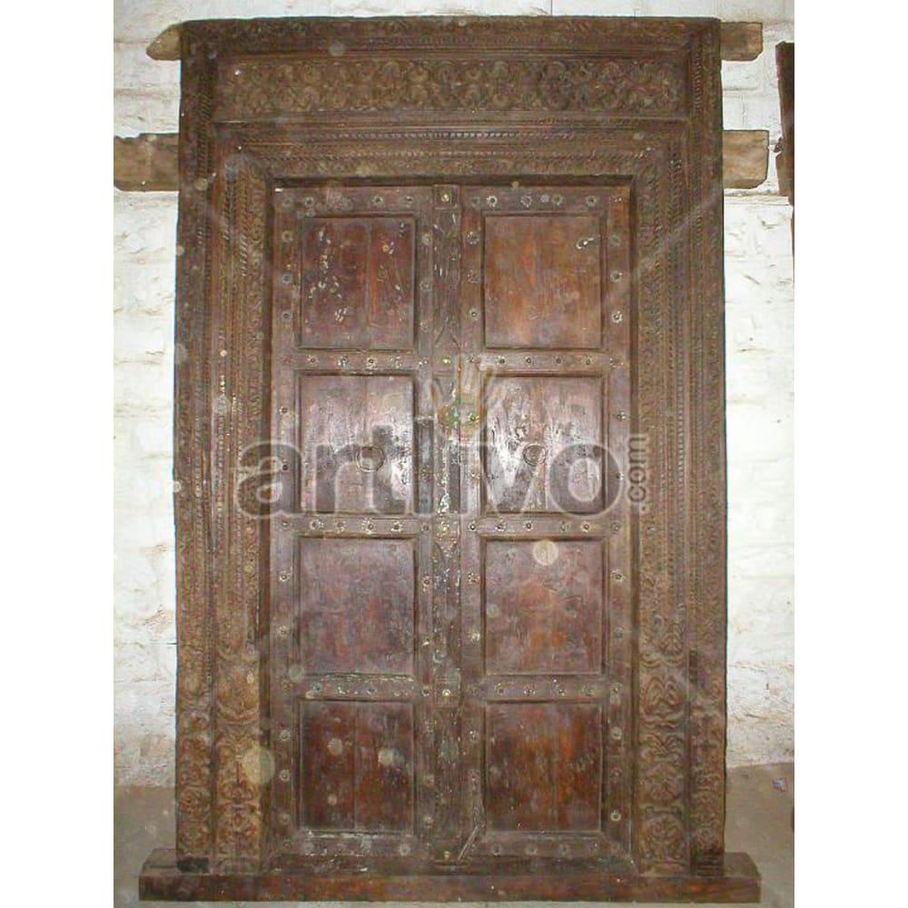 Vintage Indian Beautiful Royal Solid Wooden Teak Door