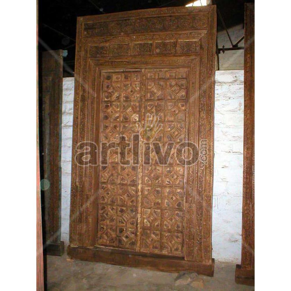 Vintage Indian Beautiful Magnificent Solid Wooden Teak Door