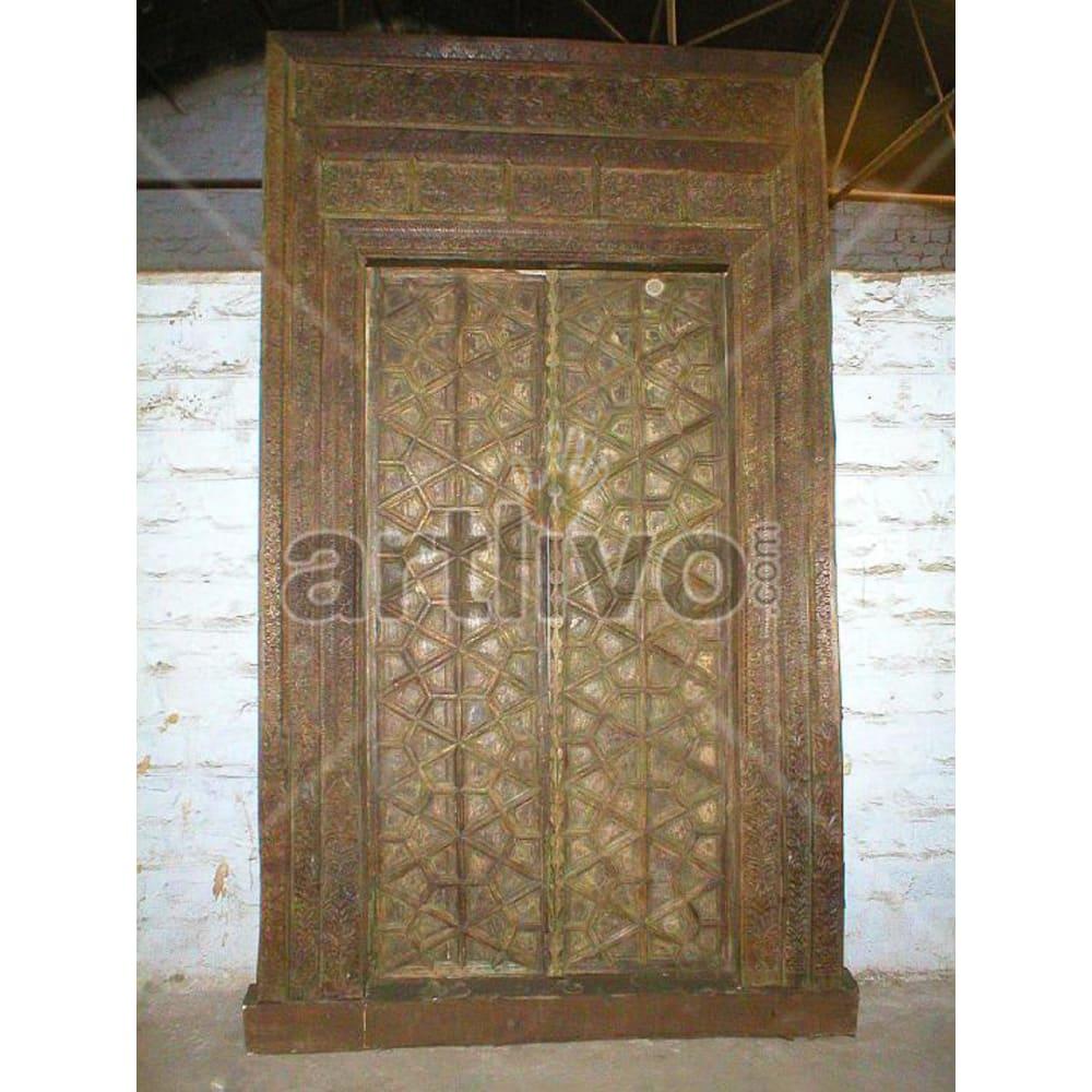 Antique Indian Carved Unique Solid Wooden Teak Door