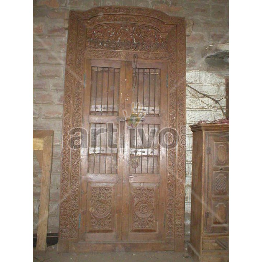 Antique Indian Carved Magnificent Solid Wooden Teak Door
