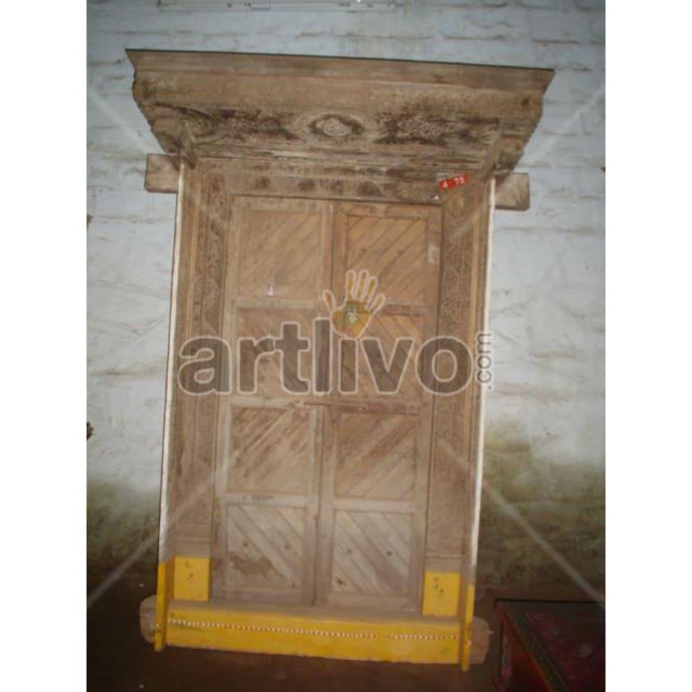 Antique Indian Brown Unique Solid Wooden Teak Door