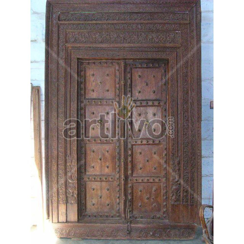 Antique Indian Brown Imperial Solid Wooden Teak Door