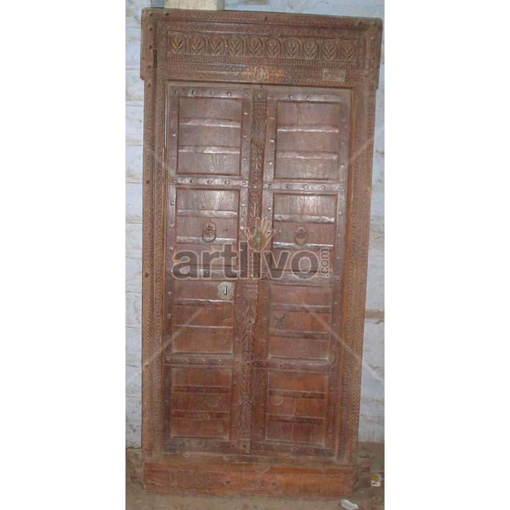 Antique Indian Brown Noble Solid Wooden Teak Door