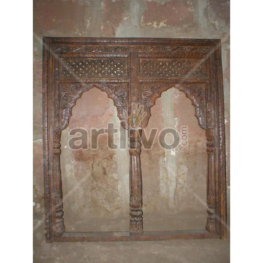 Antique Indian Chiselled Extravagant Solid Wooden Teak Door