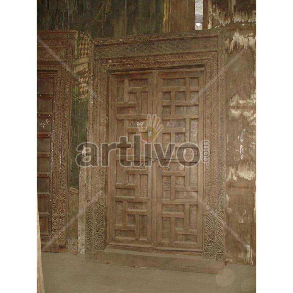 Antique Indian Engraved Supreme Solid Wooden Teak Door
