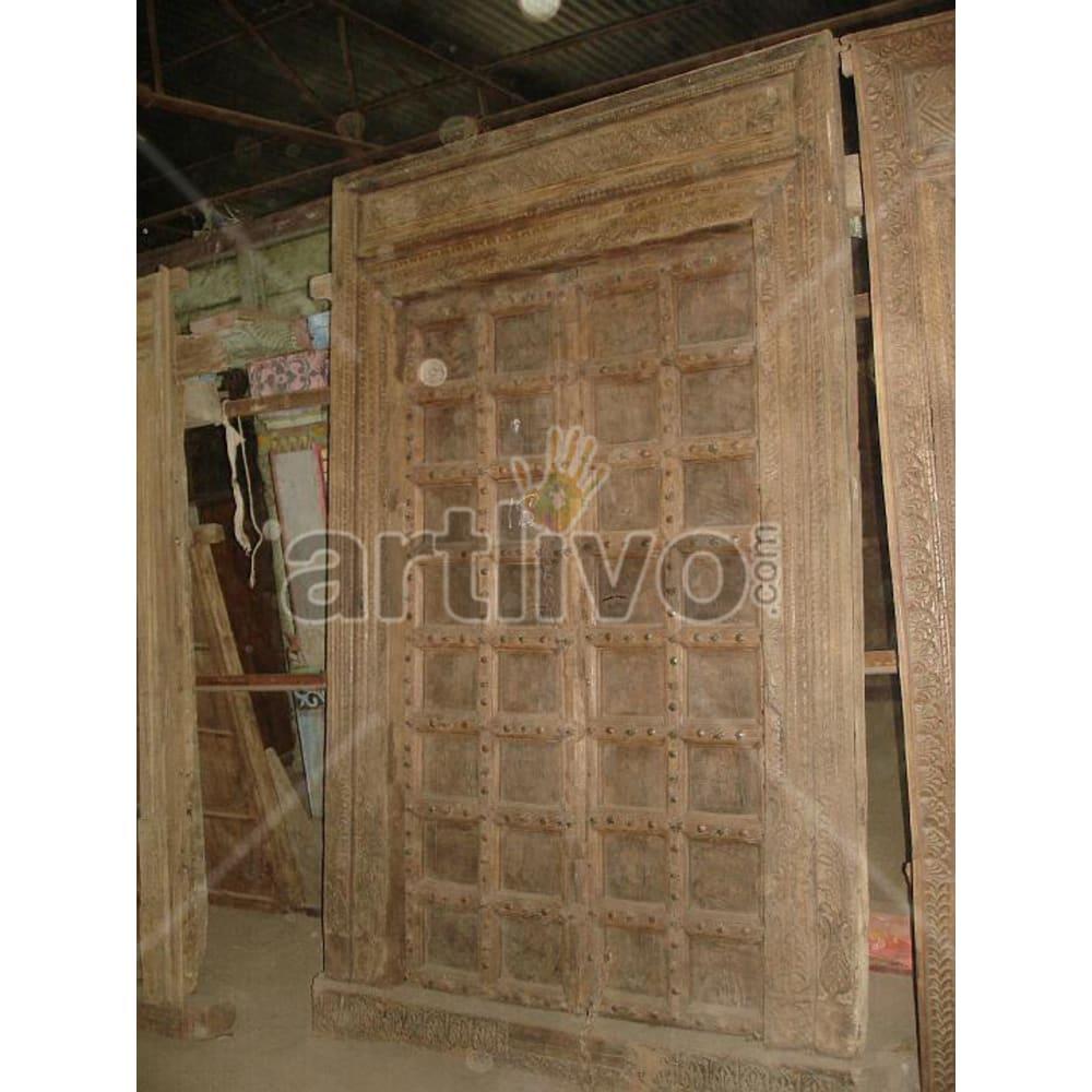 Antique Indian Engraved Superb Solid Wooden Teak Door