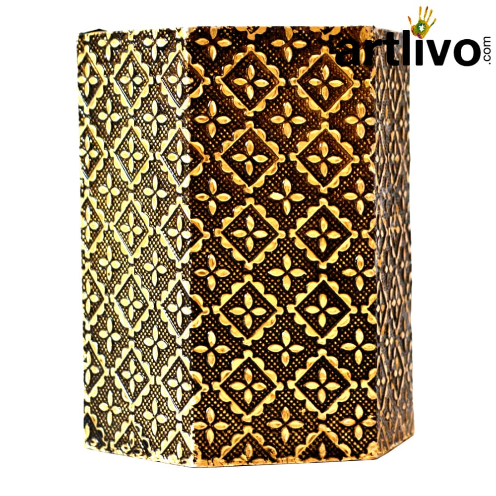 UBER ELEGANT Golden Metal Hexagon Pen Holder - TO043