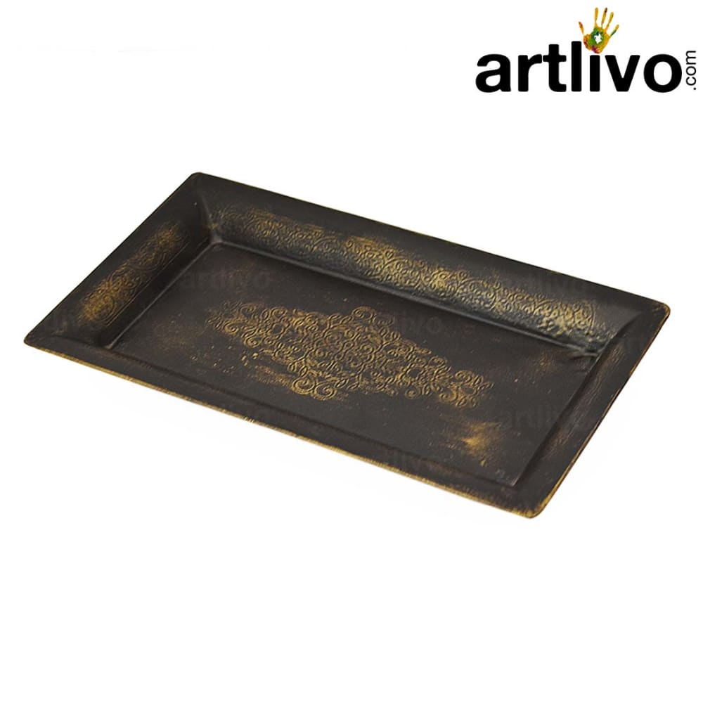 Metal Serving Tray With Engraving Work