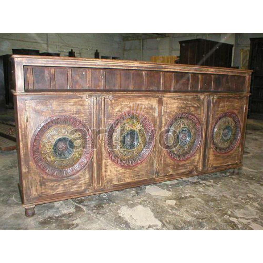 Vintage Indian Carved Supreme Solid Wooden Teak Sideboard with 4 door circular design