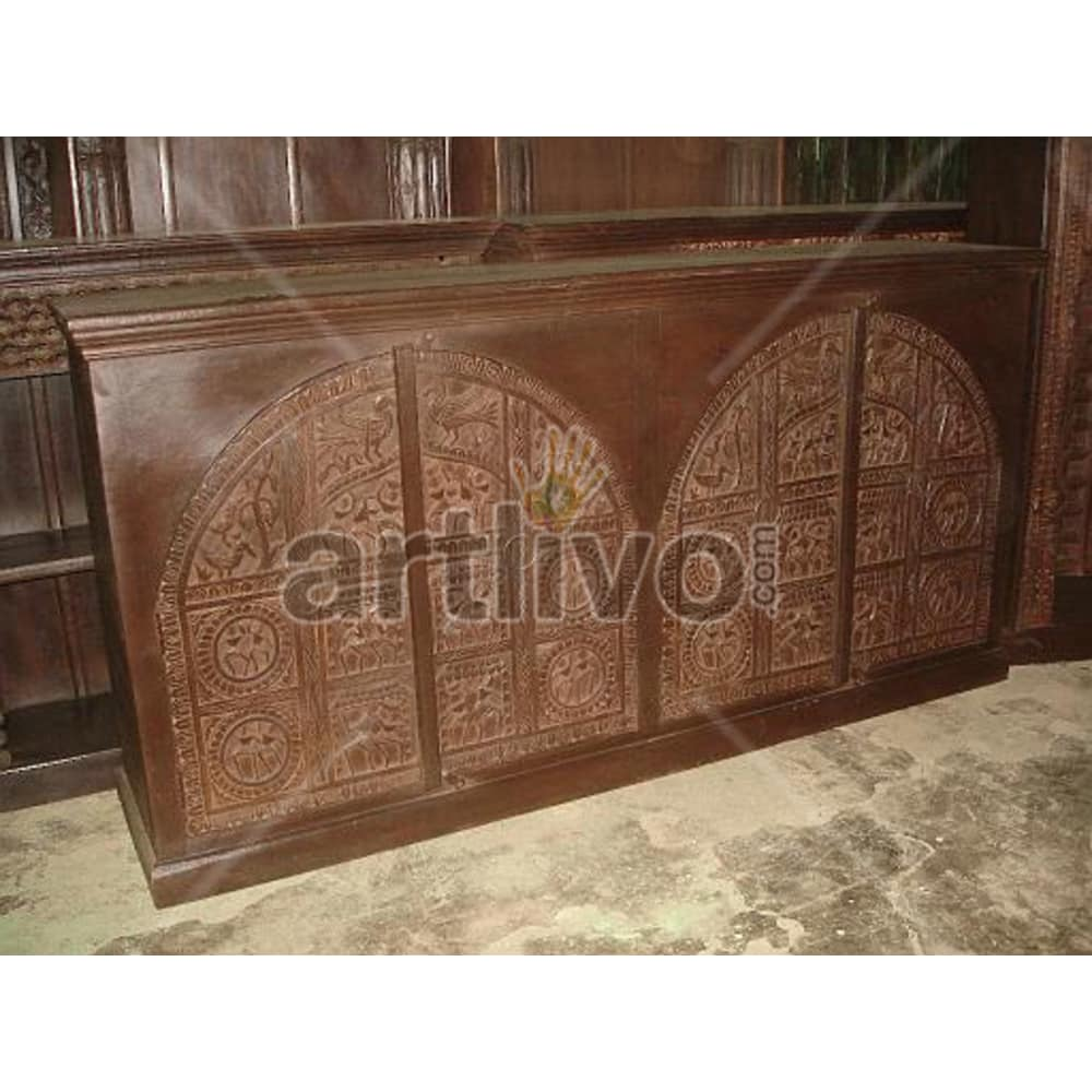 Vintage Indian Brown Supreme Solid Wooden Teak Sideboard with 4 door cenotaph design