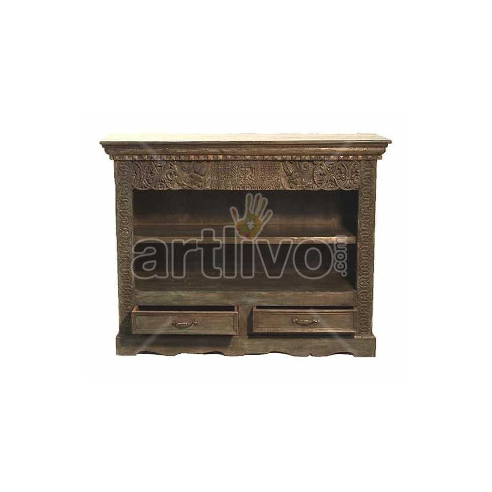 Vintage Indian Brown Superb Solid Wooden Teak Sideboard with 2 drawer open side