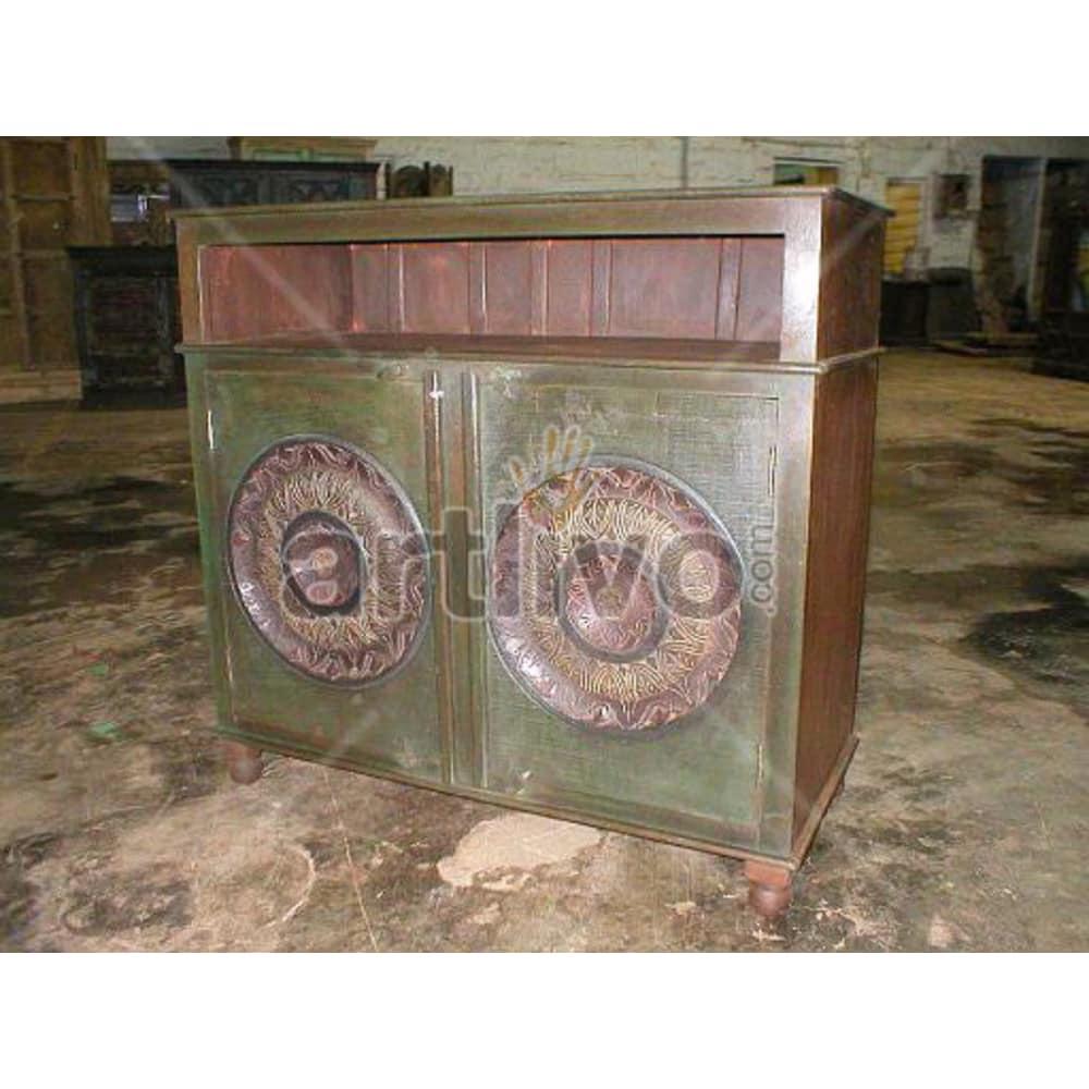 Vintage Indian Brown Marvellous Solid Wooden Teak Sideboard with 2 door circular design