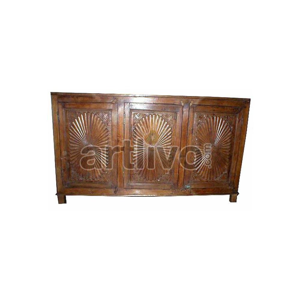Vintage Indian Engraved Rich Solid Wooden Teak Sideboard with 3 door