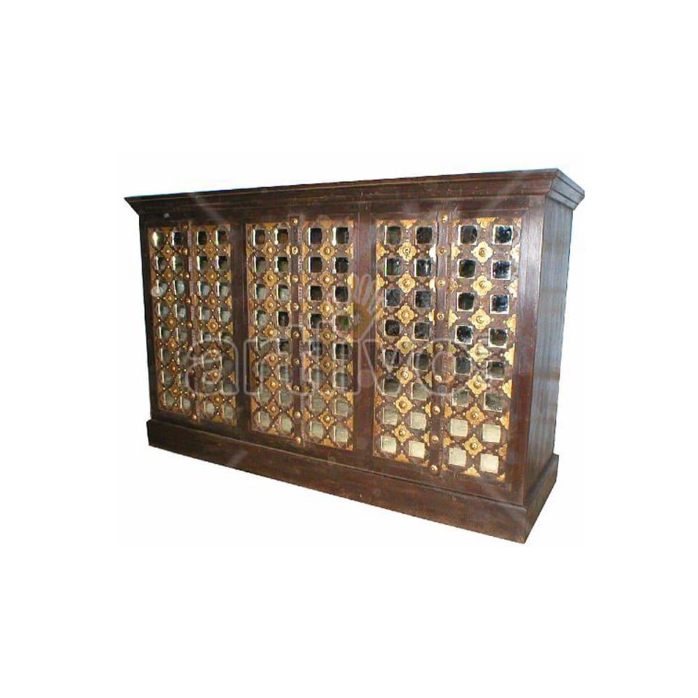Vintage Indian Engraved stately Solid Wooden Teak Sideboard