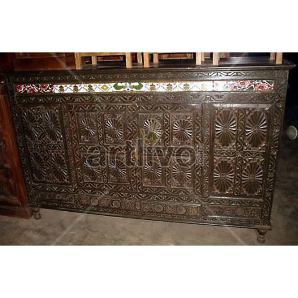 Vintage Indian Sculpted Opulent Solid Wooden Teak Sideboard