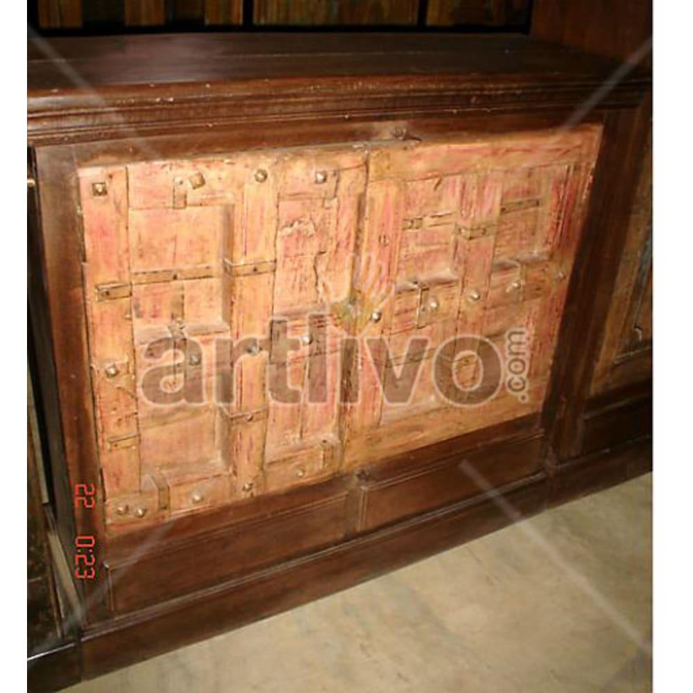 Vintage Indian Sculpted Plush Solid Wooden Teak Sideboard