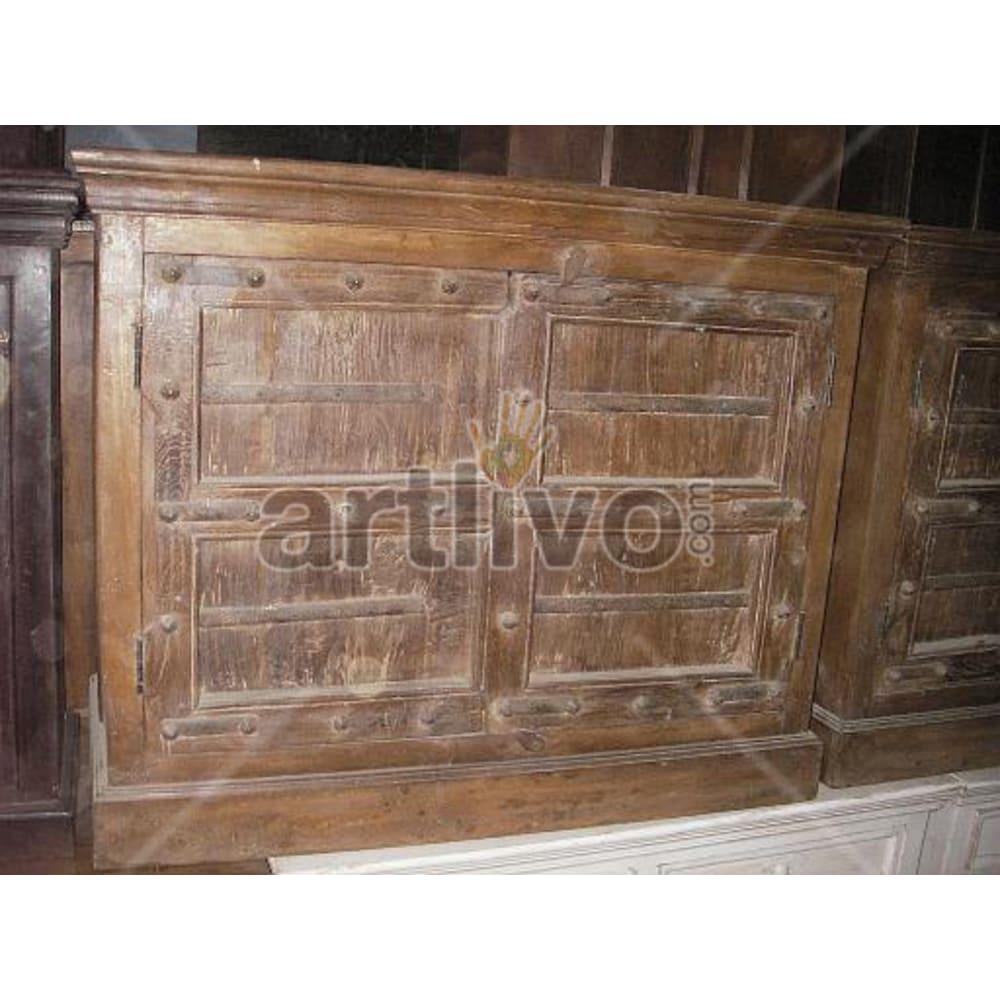 Vintage Indian Sculptured Lavish Solid Wooden Teak Sideboard