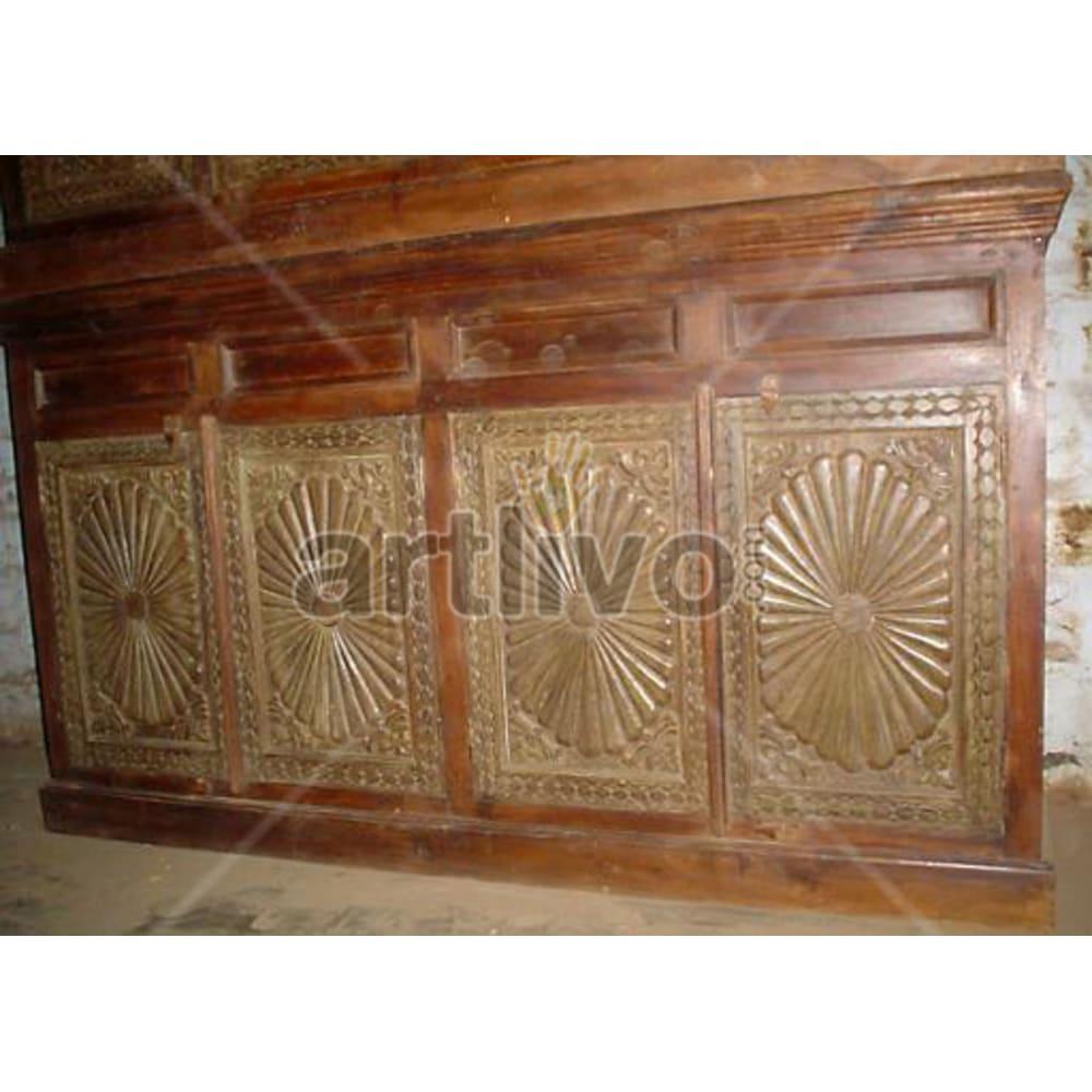 Vintage Indian Sculptured Supreme Solid Wooden Teak Sideboard
