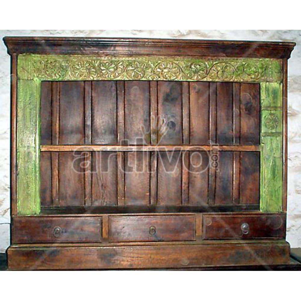 Vintage Indian Sculptured Superb Solid Wooden Teak Sideboard
