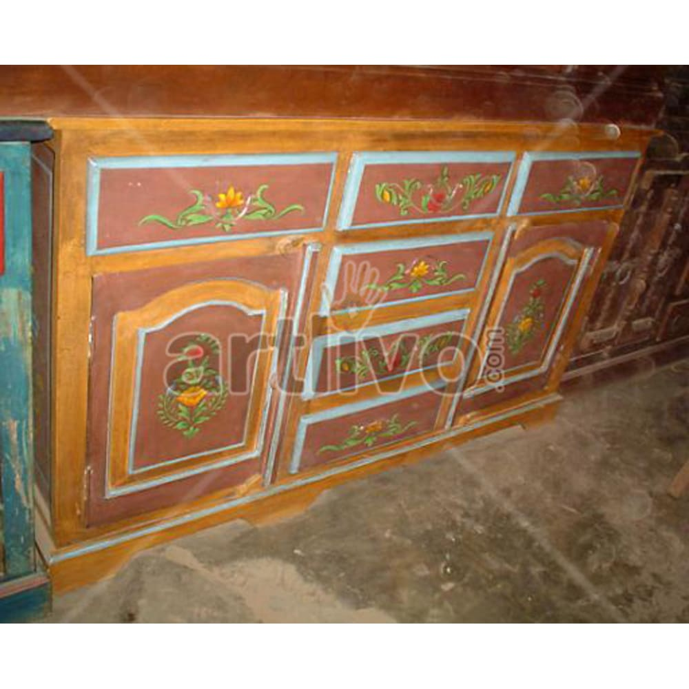 Vintage Indian Beautiful Unique Solid Wooden Teak Sideboard