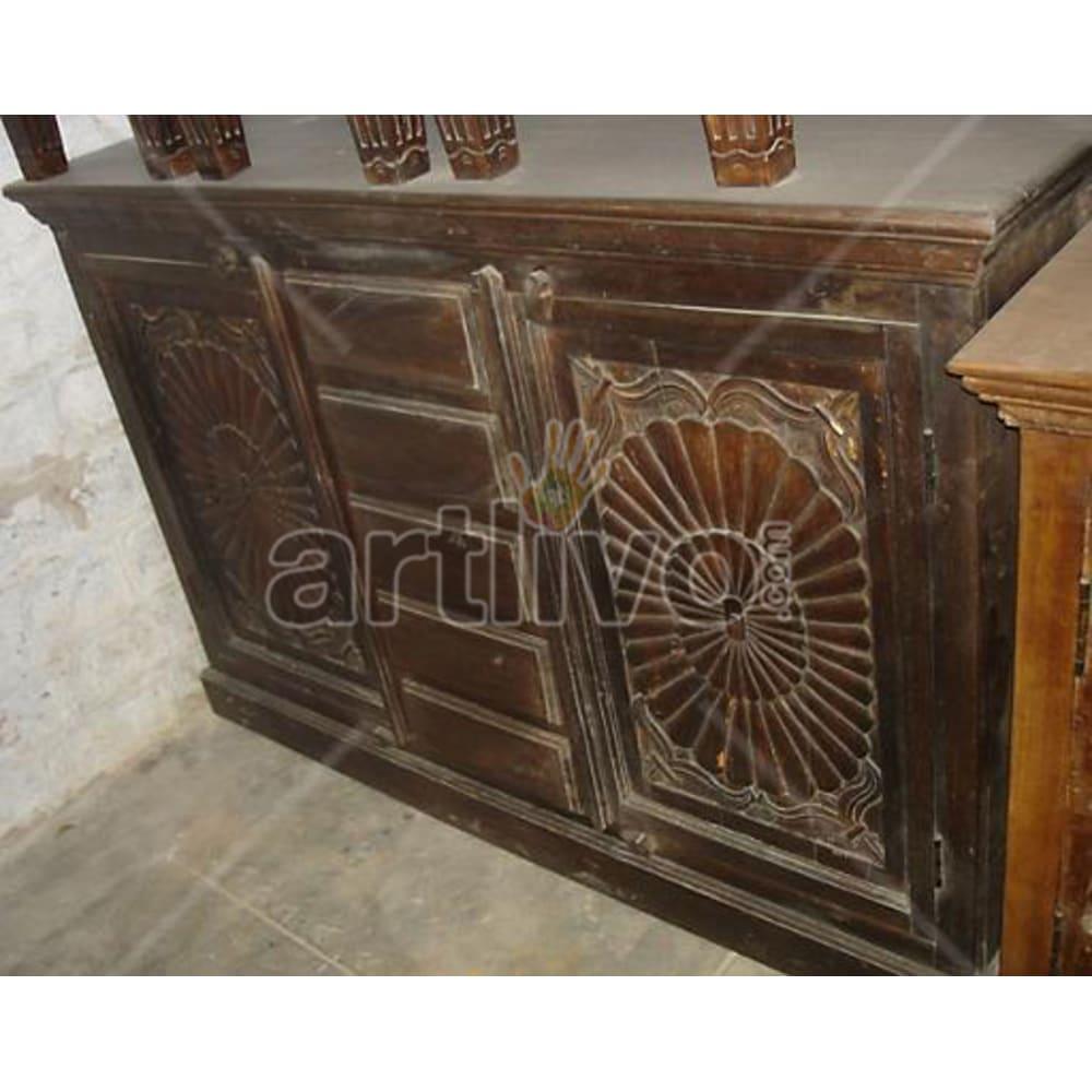 Antique Indian Carved Opulent Solid Wooden Teak Sideboard