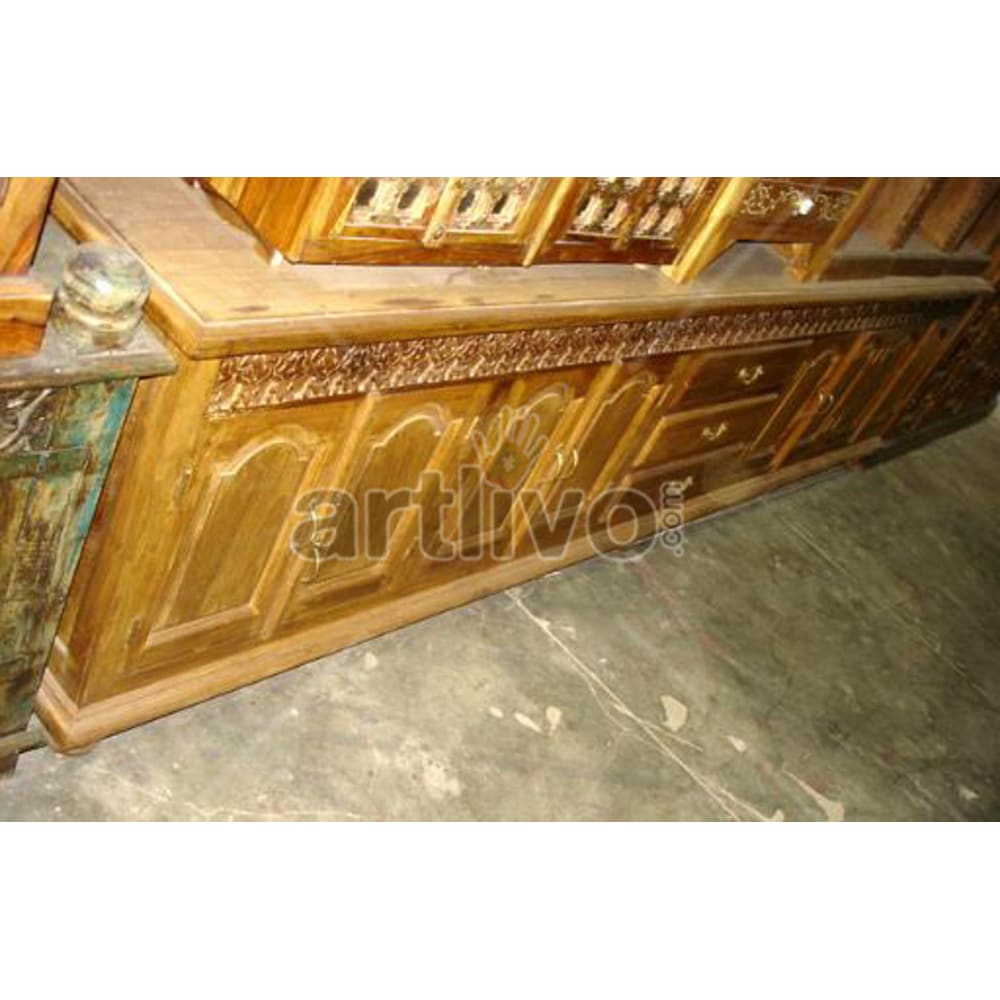 Antique Indian Carved Luscious Solid Wooden Teak Sideboard