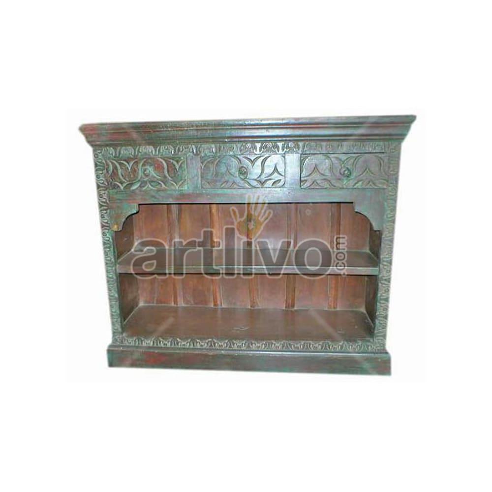 Antique Indian Carved Marvellous Solid Wooden Teak Sideboard