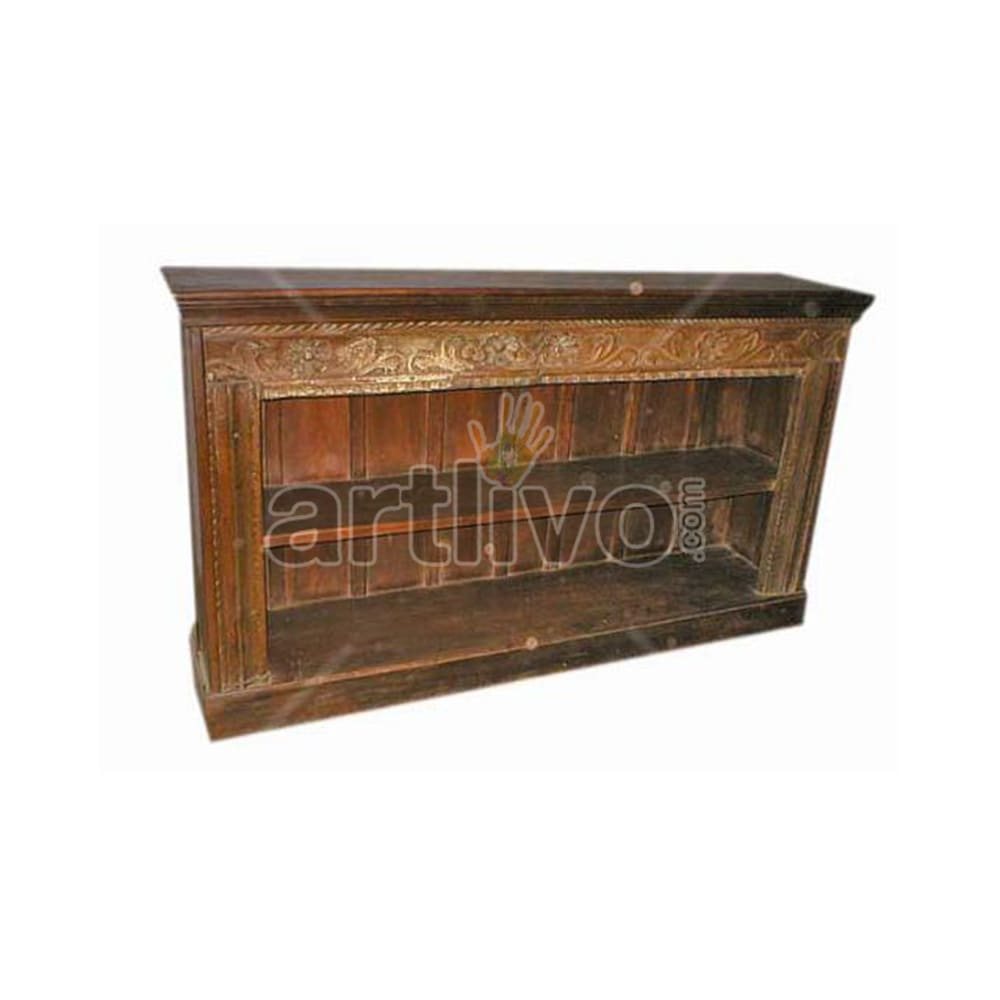 Antique Indian Brown Extravagant Solid Wooden Teak Sideboard