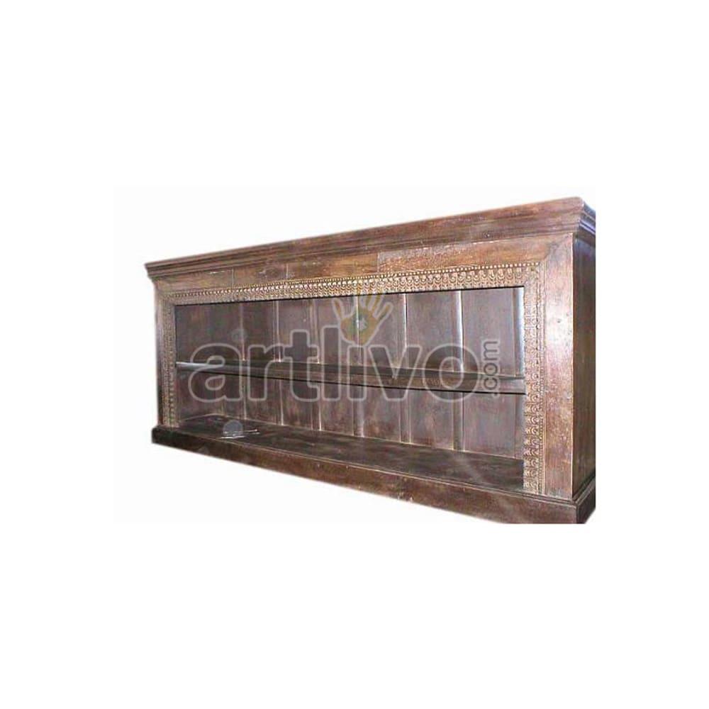 Antique Indian Chiselled Rich Solid Wooden Teak Sideboard