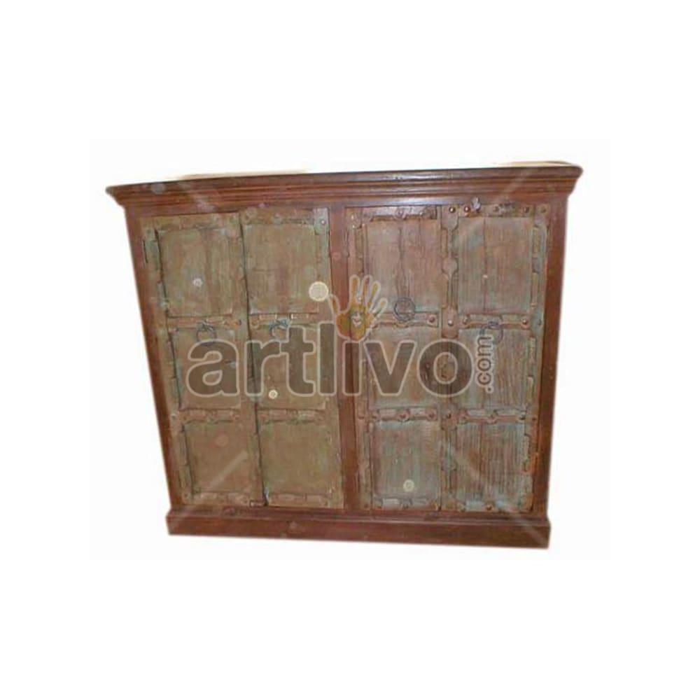 Antique Indian Chiselled noble Solid Wooden Teak Sideboard