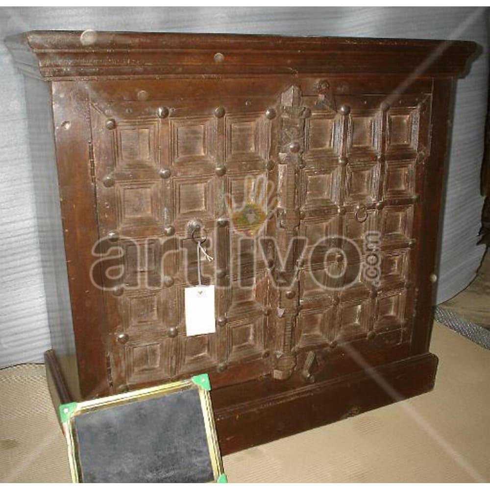 Antique Indian Chiselled Splendid Solid Wooden Teak Sideboard